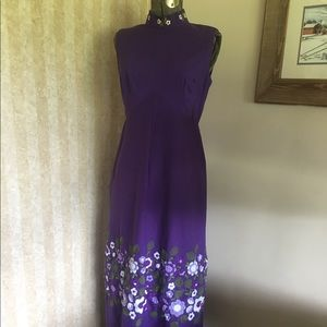 Vintage 1960's Embroidered Maxi Dress